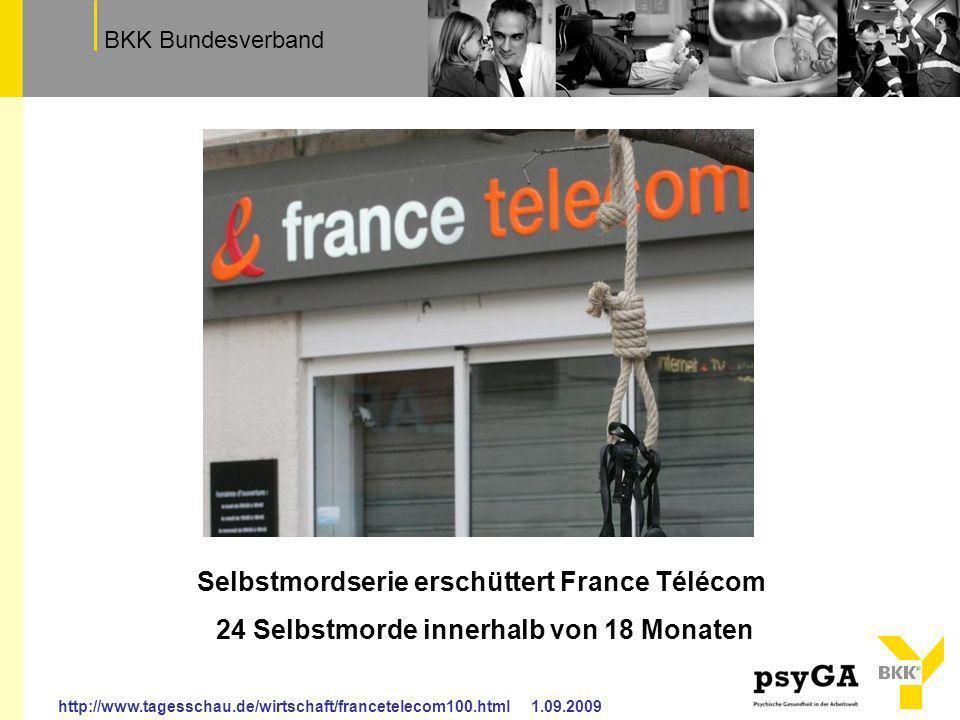 TextfeldBKK Bundesverband http://www.tagesschau.de/wirtschaft/francetelecom100.html 1.09.2009 Selbstmordserie erschüttert France Télécom 24 Selbstmord