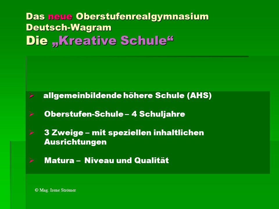 Das neue Oberstufenrealgymnasium Deutsch-Wagram Die Kreative Schule allgemeinbildende höhere Schule (AHS) Oberstufen-Schule – 4 Schuljahre 3 Zweige –