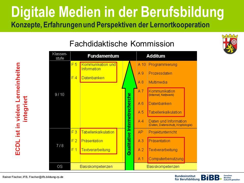 Digitale Medien in der Berufsbildung Konzepte, Erfahrungen und Perspektiven der Lernortkooperation Rainer Fischer, IFB, Fischer@ifb.bildung-rp.de Fachdidaktische Kommission ECDL ist in vielen Lerneinheiten integriert