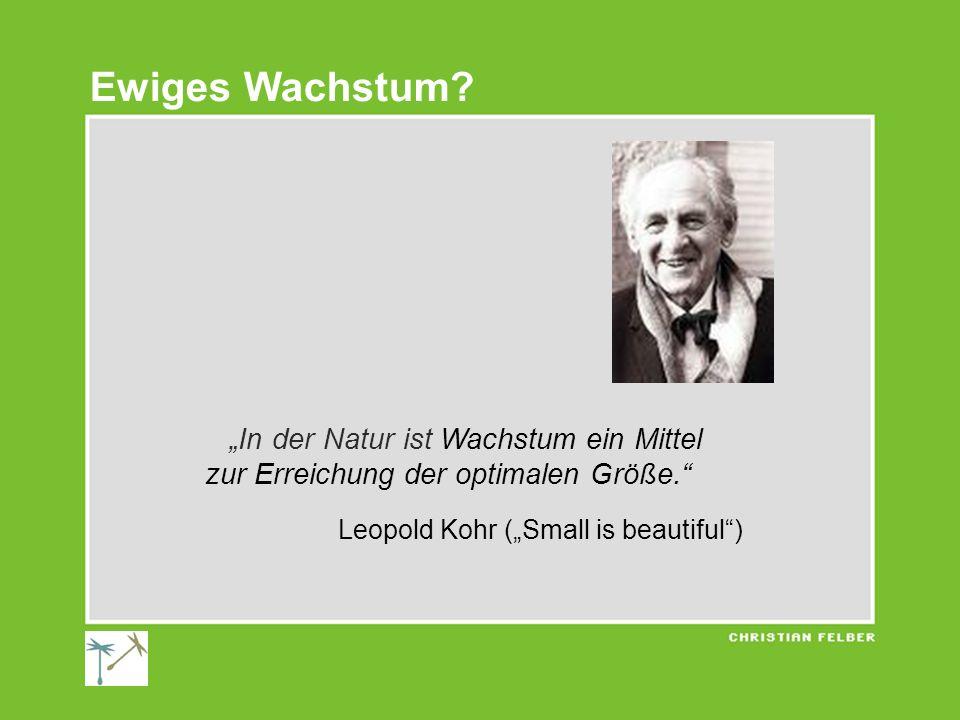 In der Natur ist Wachstum ein Mittel zur Erreichung der optimalen Größe. Leopold Kohr (Small is beautiful) Ewiges Wachstum?