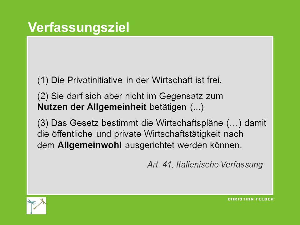 (1) Die Privatinitiative in der Wirtschaft ist frei. (2) Sie darf sich aber nicht im Gegensatz zum Nutzen der Allgemeinheit betätigen (...) (3) Das Ge