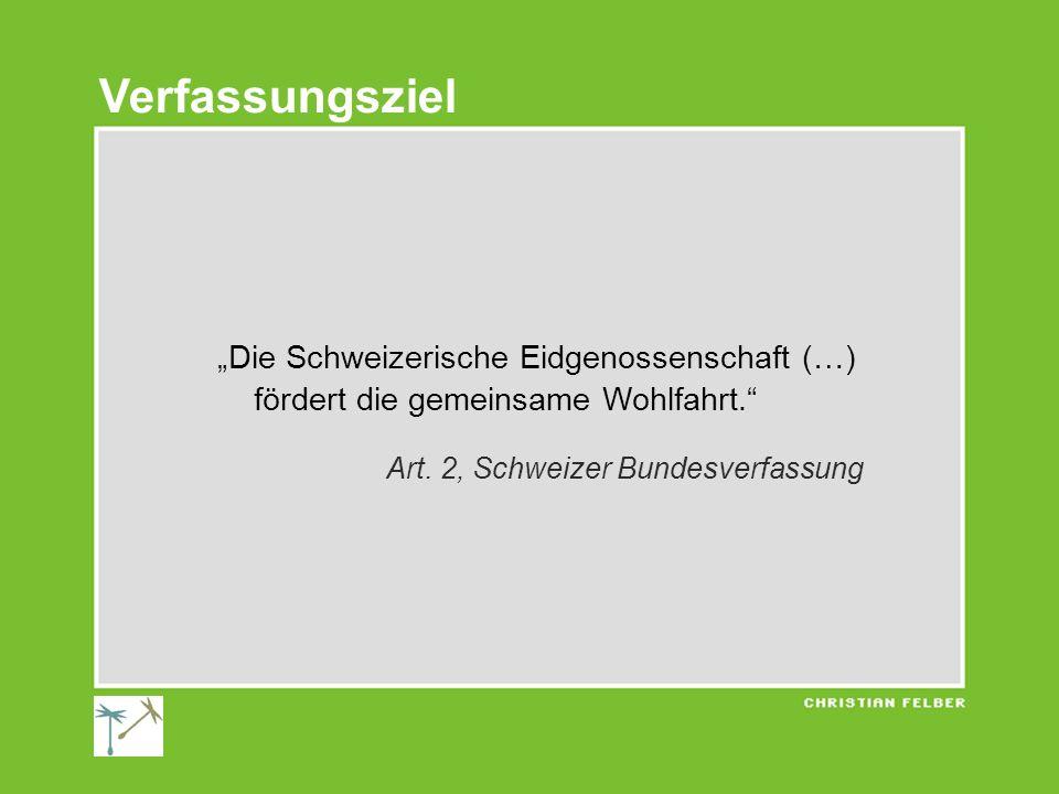 Die Schweizerische Eidgenossenschaft (…) fördert die gemeinsame Wohlfahrt. Art. 2, Schweizer Bundesverfassung Verfassungsziel