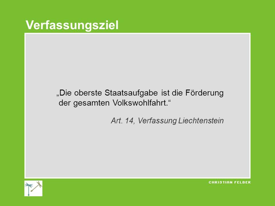 Die oberste Staatsaufgabe ist die Förderung der gesamten Volkswohlfahrt. Art. 14, Verfassung Liechtenstein Verfassungsziel
