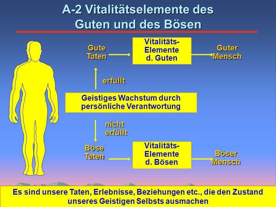 GuteTaten A-2 Vitalitätselemente des Guten und des Bösen Geistiges Wachstum durch persönliche Verantwortung Vitalitäts- Elemente d.