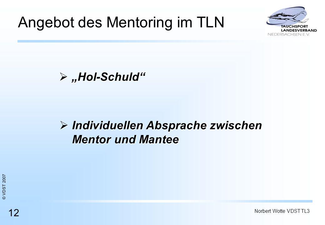 © VDST 2007 Norbert Wotte VDST TL3 12 Angebot des Mentoring im TLN Hol-Schuld Hol-Schuld Individuellen Absprache zwischen Individuellen Absprache zwis