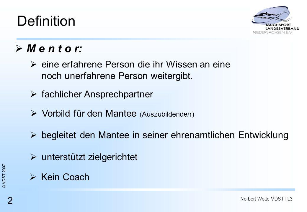© VDST 2007 Norbert Wotte VDST TL3 2 Definition M e n t o r: M e n t o r: Kein Coach begleitet den Mantee in seiner ehrenamtlichen Entwicklung unterst