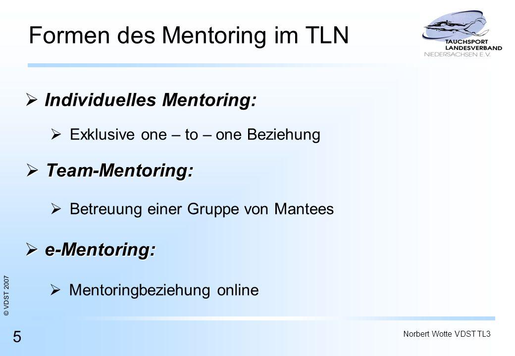 © VDST 2007 Norbert Wotte VDST TL3 5 Formen des Mentoring im TLN Individuelles Mentoring: Individuelles Mentoring: Mentoringbeziehung online Betreuung