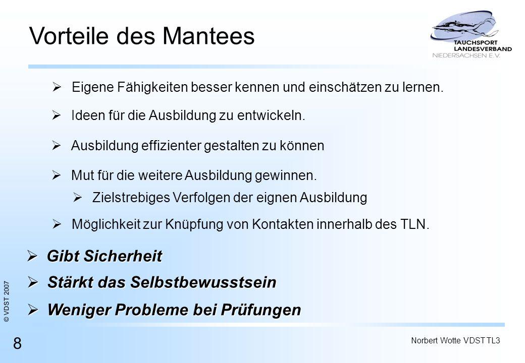 © VDST 2007 Norbert Wotte VDST TL3 8 Vorteile des Mantees Ideen für die Ausbildung zu entwickeln. Eigene Fähigkeiten besser kennen und einschätzen zu
