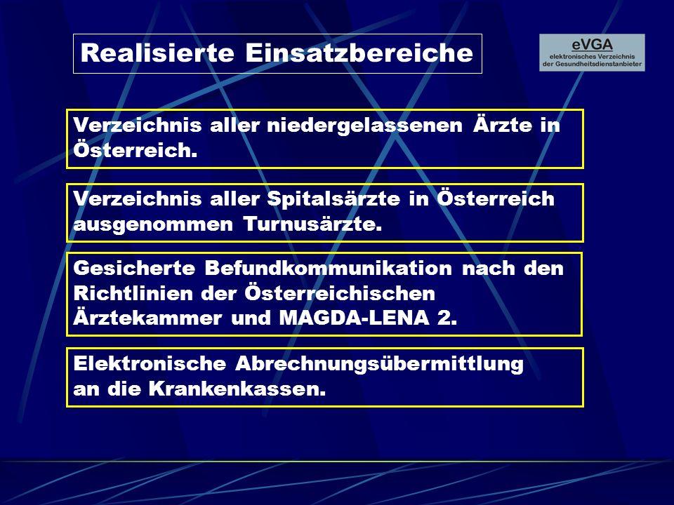Realisierte Einsatzbereiche Gesicherte Befundkommunikation nach den Richtlinien der Österreichischen Ärztekammer und MAGDA-LENA 2. Elektronische Abrec