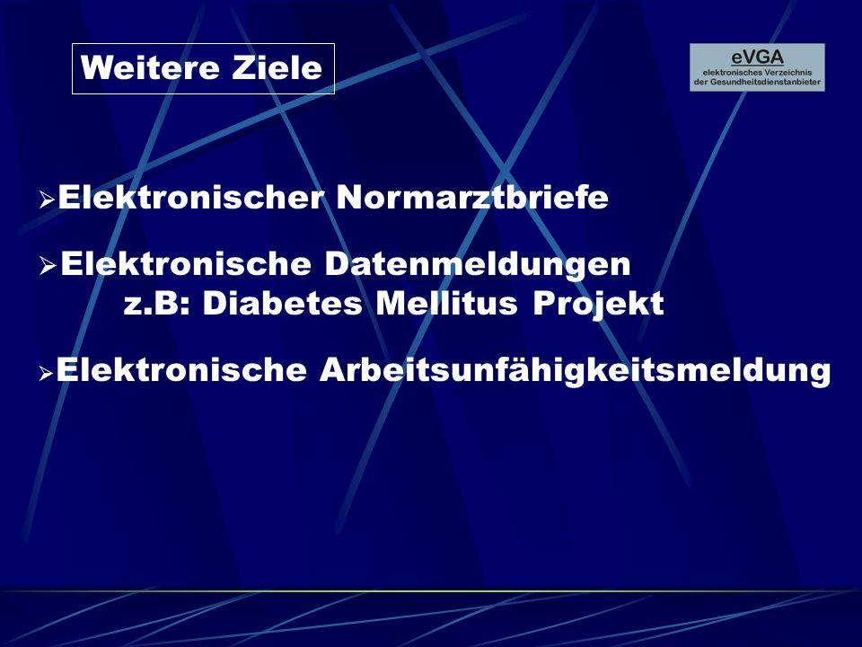 Weitere Ziele Elektronischer Normarztbriefe Elektronische Datenmeldungen z.B: Diabetes Mellitus Projekt Elektronische Arbeitsunfähigkeitsmeldung