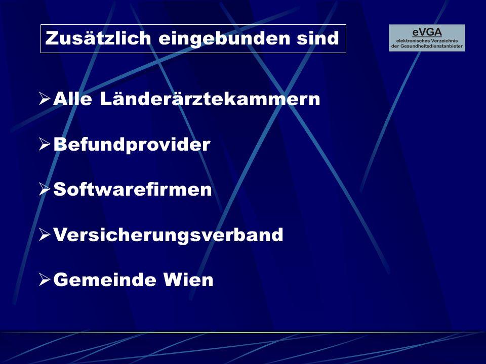Zusätzlich eingebunden sind Alle Länderärztekammern Befundprovider Softwarefirmen Versicherungsverband Gemeinde Wien