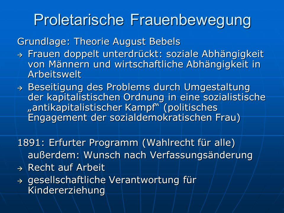 Proletarische Frauenbewegung Grundlage: Theorie August Bebels Frauen doppelt unterdrückt: soziale Abhängigkeit von Männern und wirtschaftliche Abhängi