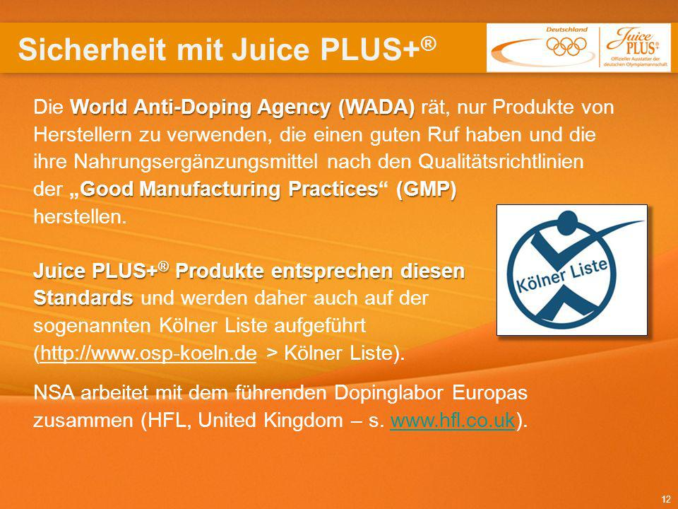 12 World Anti-Doping Agency (WADA) Good Manufacturing Practices(GMP) Die World Anti-Doping Agency (WADA) rät, nur Produkte von Herstellern zu verwende