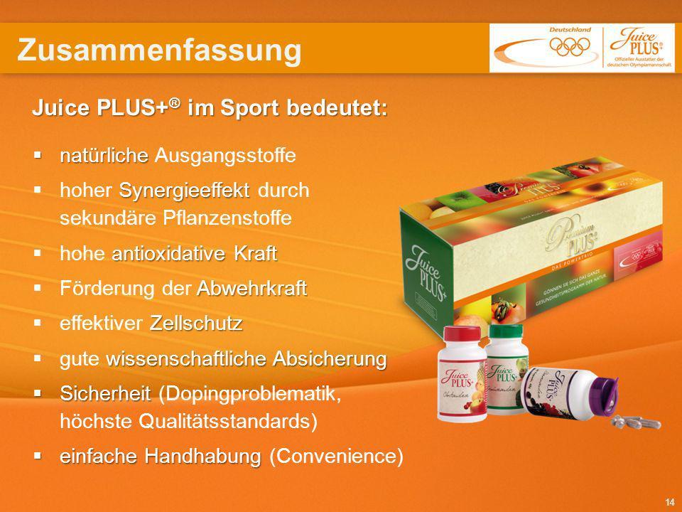 14 Juice PLUS+ ® im Sport bedeutet: natürliche natürliche Ausgangsstoffe Synergieeffekt hoher Synergieeffekt durch sekundäre Pflanzenstoffe antioxidat