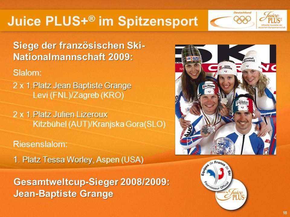 18 Siege der französischen Ski- Nationalmannschaft 2009: 1.Platz Jean Baptiste Grange 1.Platz Julien Lizeroux 1. Platz Tessa Worley Siege der französi