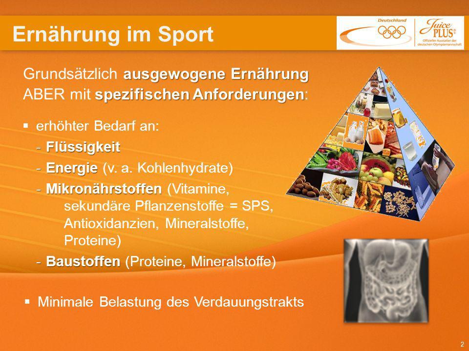3 Ernährungsoptimierung Eine umfassende Betreuung von SportlerInnen ohne Ernährungsoptimierung ist heutzutage nicht mehr denkbar.
