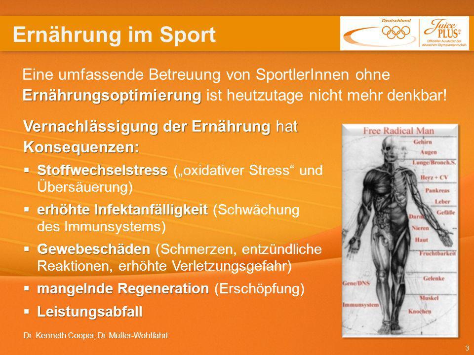 3 Ernährungsoptimierung Eine umfassende Betreuung von SportlerInnen ohne Ernährungsoptimierung ist heutzutage nicht mehr denkbar! Vernachlässigung der