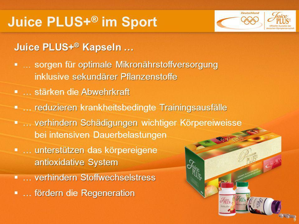 9 Juice PLUS+ ® Kapseln … optimale Mikronährstoffversorgung sekundärer Pflanzenstoffe … sorgen für optimale Mikronährstoffversorgung inklusive sekundä