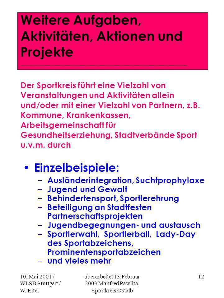 10. Mai 2001 / WLSB Stuttgart / W. Eitel überarbeitet 13.Februar 2003 Manfred Pawlita, Sportkreis Ostalb 11 Regionale Sportpolitik -V-Vertretung in re