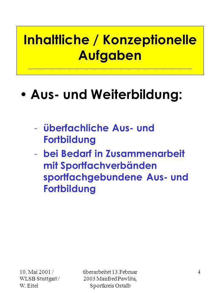 10. Mai 2001 / WLSB Stuttgart / W. Eitel überarbeitet 13.Februar 2003 Manfred Pawlita, Sportkreis Ostalb 3 Unterschiede in den Sportkreisen Anzahl der