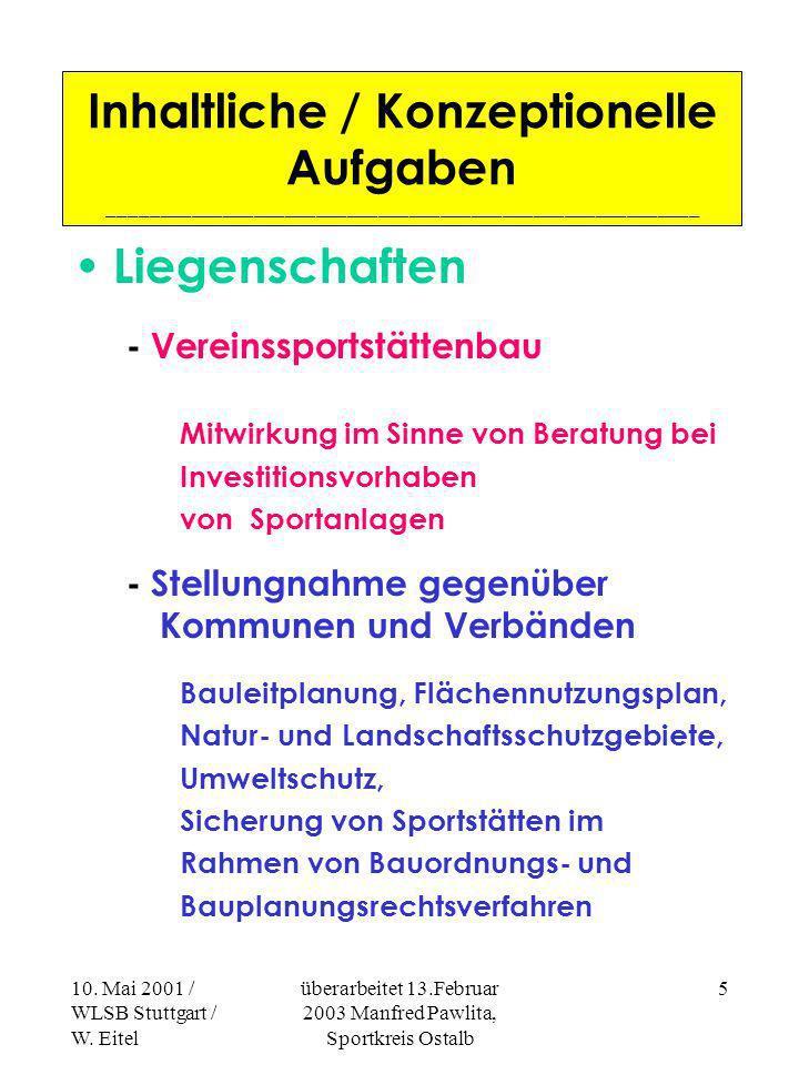 10. Mai 2001 / WLSB Stuttgart / W. Eitel überarbeitet 13.Februar 2003 Manfred Pawlita, Sportkreis Ostalb 4 Inhaltliche / Konzeptionelle Aufgaben _____