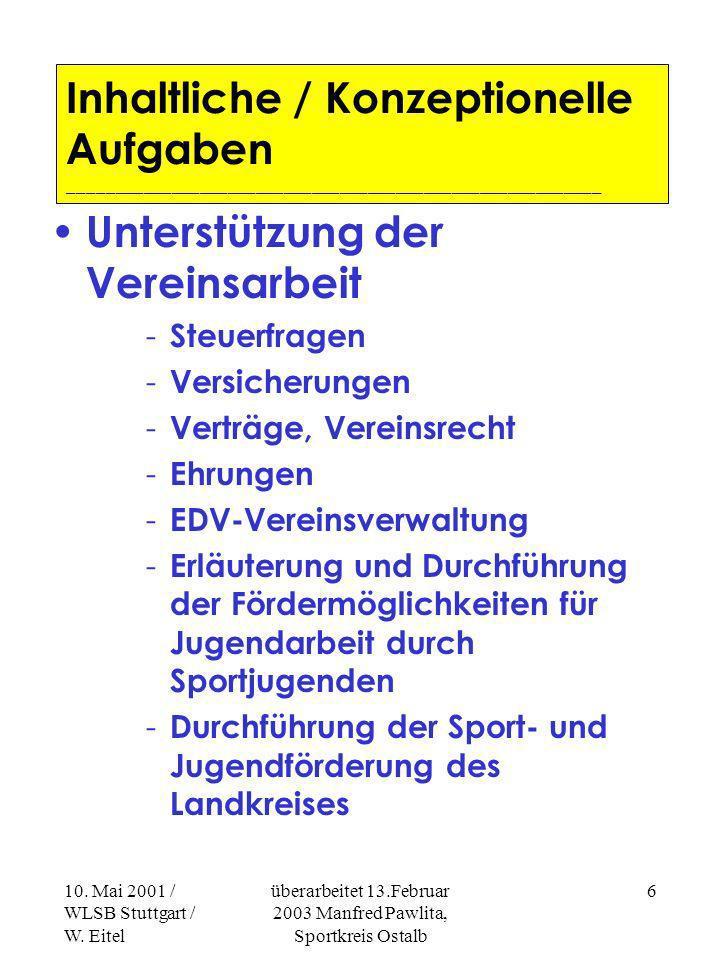 10. Mai 2001 / WLSB Stuttgart / W. Eitel überarbeitet 13.Februar 2003 Manfred Pawlita, Sportkreis Ostalb 5 Inhaltliche / Konzeptionelle Aufgaben _____