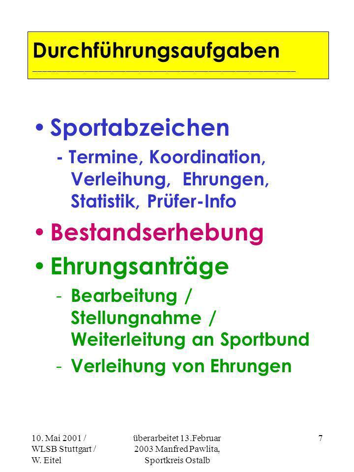 10. Mai 2001 / WLSB Stuttgart / W. Eitel überarbeitet 13.Februar 2003 Manfred Pawlita, Sportkreis Ostalb 6 Unterstützung der Vereinsarbeit - Steuerfra