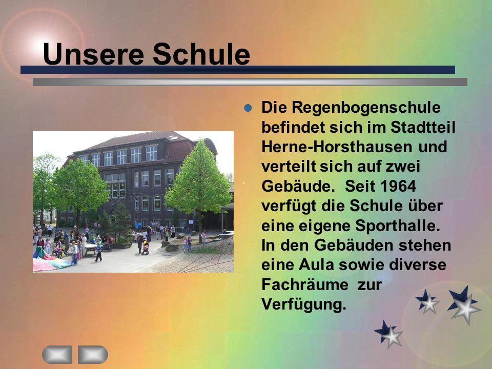 Unsere Schule Die Regenbogenschule befindet sich im Stadtteil Herne-Horsthausen und verteilt sich auf zwei Gebäude. Seit 1964 verfügt die Schule über