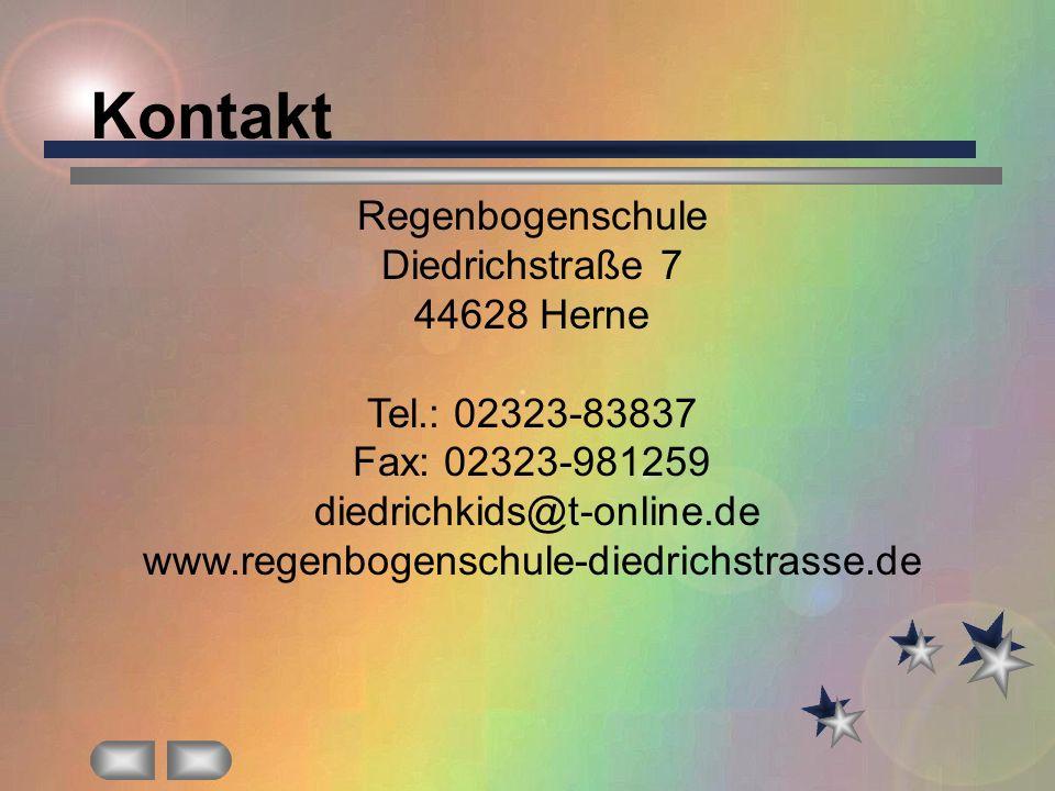 Kontakt Regenbogenschule Diedrichstraße 7 44628 Herne Tel.: 02323-83837 Fax: 02323-981259 diedrichkids@t-online.de www.regenbogenschule-diedrichstrass