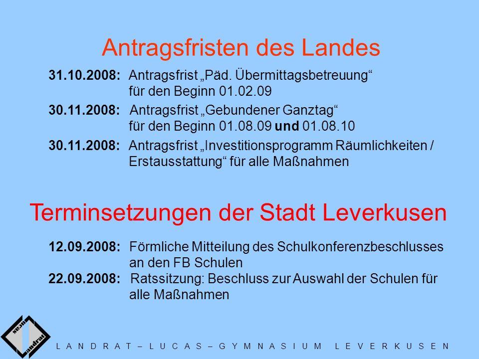 L A N D R A T – L U C A S – G Y M N A S I U M L E V E R K U S E N Antragsfristen des Landes Terminsetzungen der Stadt Leverkusen 31.10.2008: Antragsfrist Päd.