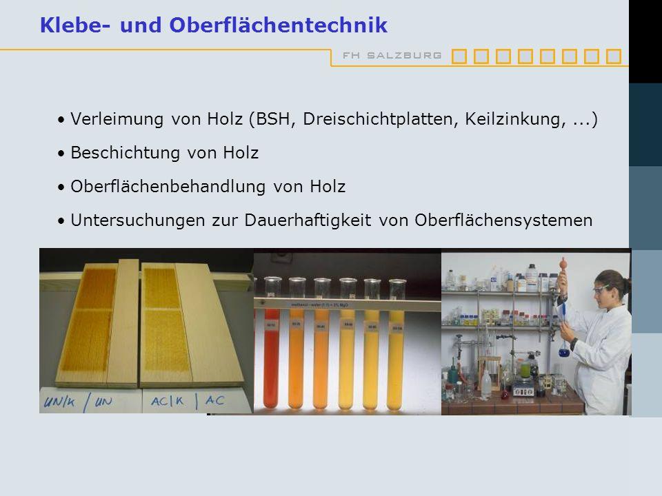 fh salzburg Klebe- und Oberflächentechnik Verleimung von Holz (BSH, Dreischichtplatten, Keilzinkung,...) Beschichtung von Holz Oberflächenbehandlung v