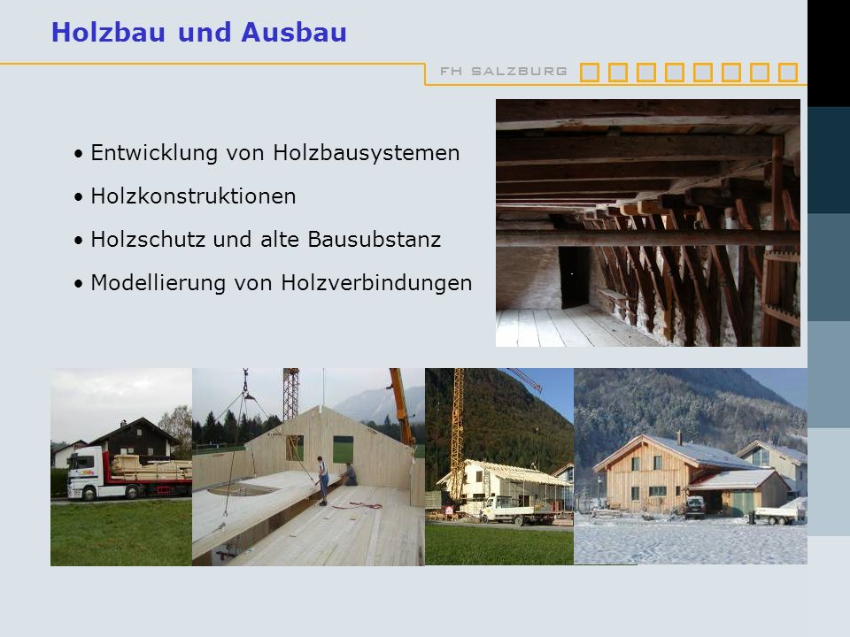 fh salzburg Holzbau und Ausbau Entwicklung von Holzbausystemen Holzkonstruktionen Holzschutz und alte Bausubstanz Modellierung von Holzverbindungen