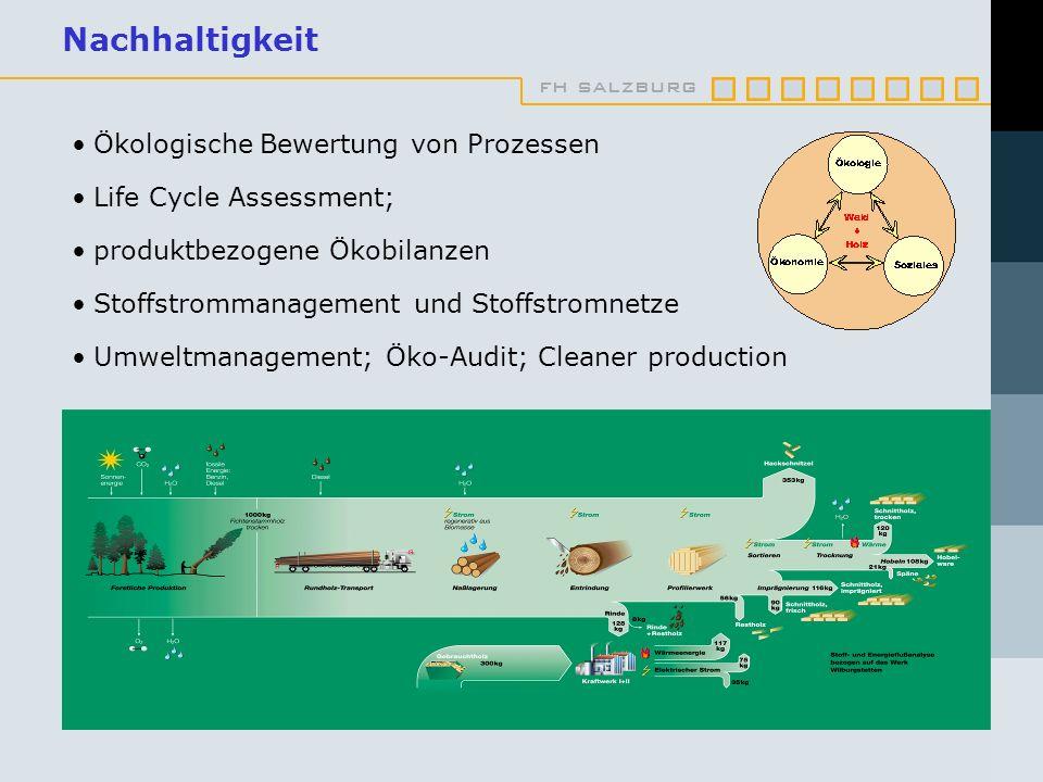 fh salzburg Nachhaltigkeit Ökologische Bewertung von Prozessen Life Cycle Assessment; produktbezogene Ökobilanzen Stoffstrommanagement und Stoffstromnetze Umweltmanagement; Öko-Audit; Cleaner production