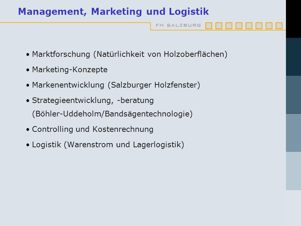fh salzburg Management, Marketing und Logistik Marktforschung (Natürlichkeit von Holzoberflächen) Marketing-Konzepte Markenentwicklung (Salzburger Hol