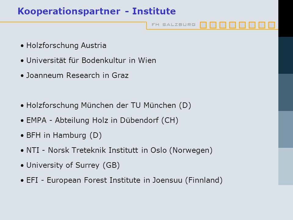 fh salzburg Kooperationspartner - Institute Holzforschung Austria Universität für Bodenkultur in Wien Joanneum Research in Graz Holzforschung München