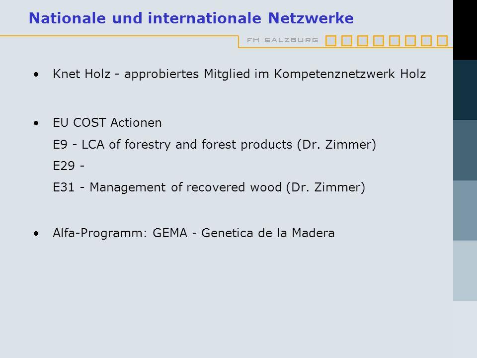 fh salzburg Nationale und internationale Netzwerke Knet Holz - approbiertes Mitglied im Kompetenznetzwerk Holz EU COST Actionen E9 - LCA of forestry and forest products (Dr.