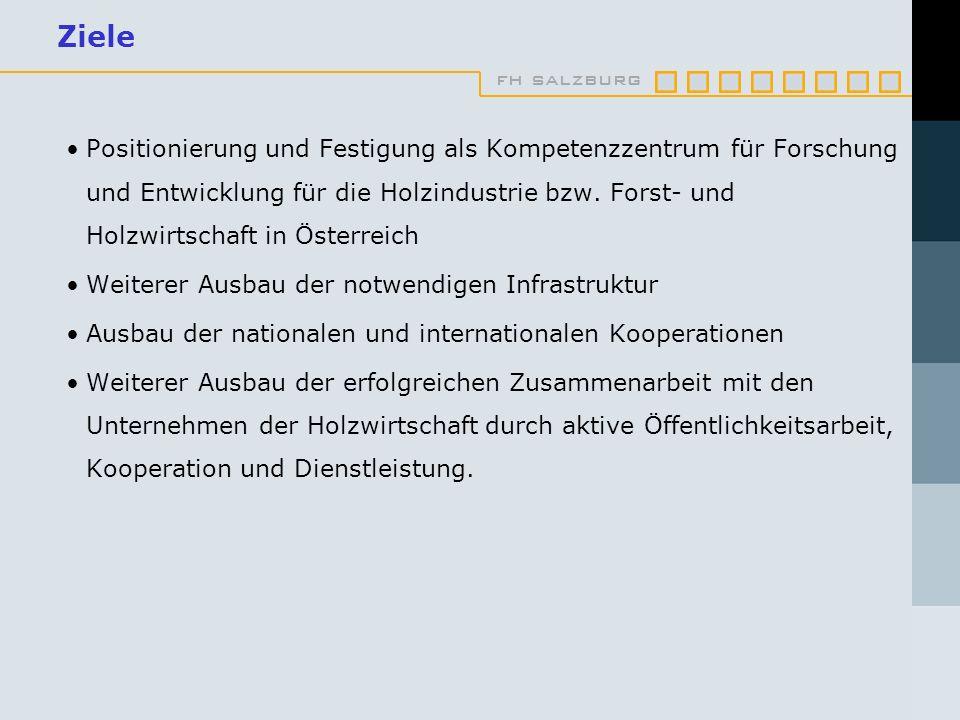 fh salzburg Ziele Positionierung und Festigung als Kompetenzzentrum für Forschung und Entwicklung für die Holzindustrie bzw. Forst- und Holzwirtschaft