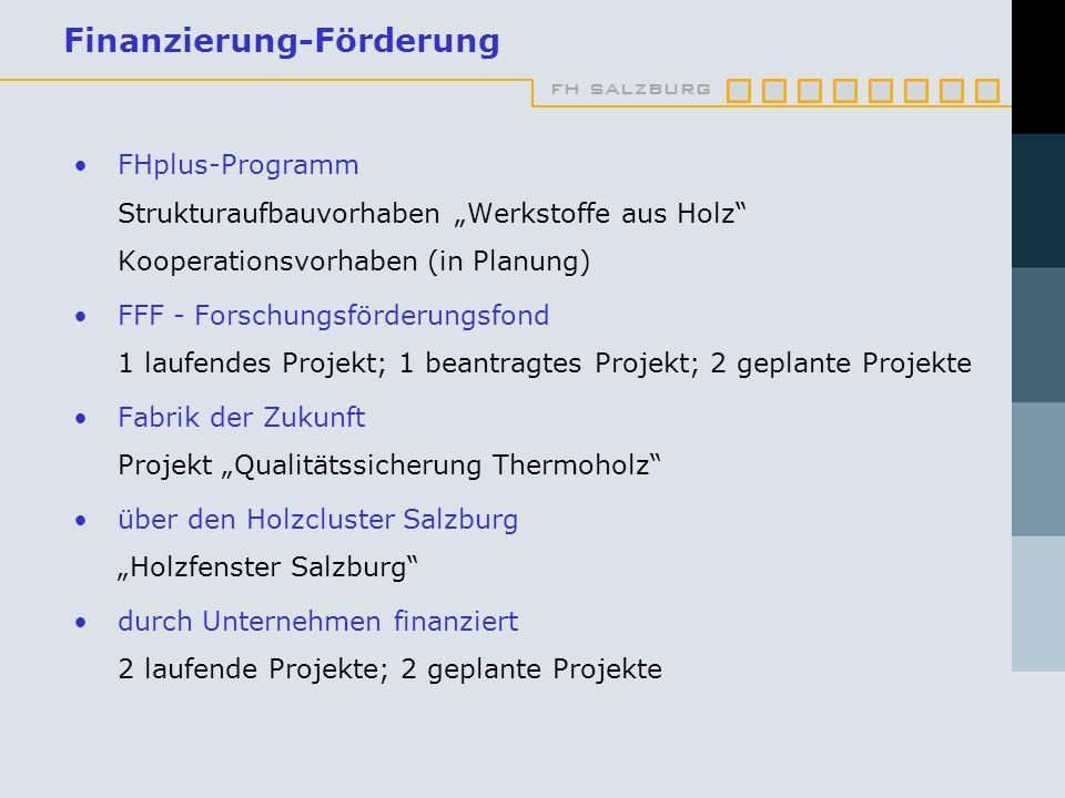 fh salzburg Finanzierung-Förderung FHplus-Programm Strukturaufbauvorhaben Werkstoffe aus Holz Kooperationsvorhaben (in Planung) FFF - Forschungsförder
