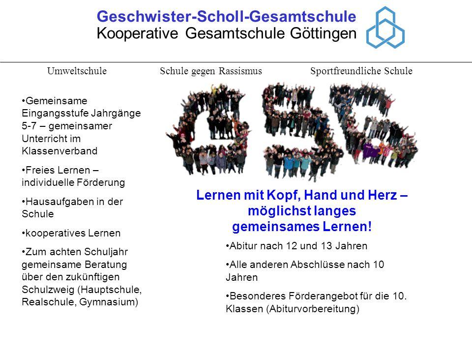 Geschwister-Scholl-Gesamtschule Kooperative Gesamtschule Göttingen Umweltschule Schule gegen Rassismus Sportfreundliche Schule Lernen mit Kopf, Hand u