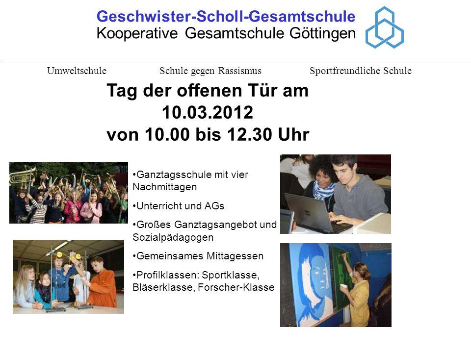 Geschwister-Scholl-Gesamtschule Kooperative Gesamtschule Göttingen Umweltschule Schule gegen Rassismus Sportfreundliche Schule Ganztagsschule mit vier
