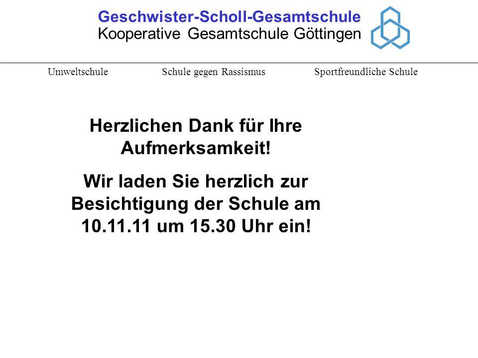 Geschwister-Scholl-Gesamtschule Kooperative Gesamtschule Göttingen Umweltschule Schule gegen Rassismus Sportfreundliche Schule Herzlichen Dank für Ihr