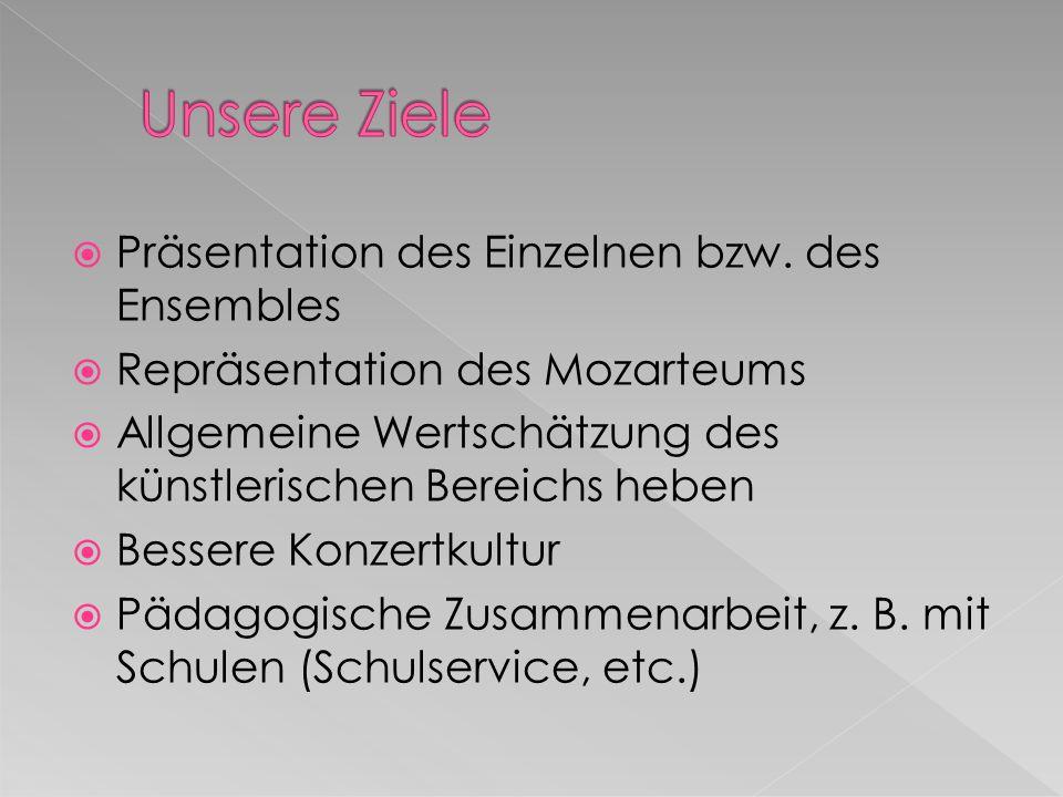 Präsentation des Einzelnen bzw. des Ensembles Repräsentation des Mozarteums Allgemeine Wertschätzung des künstlerischen Bereichs heben Bessere Konzert