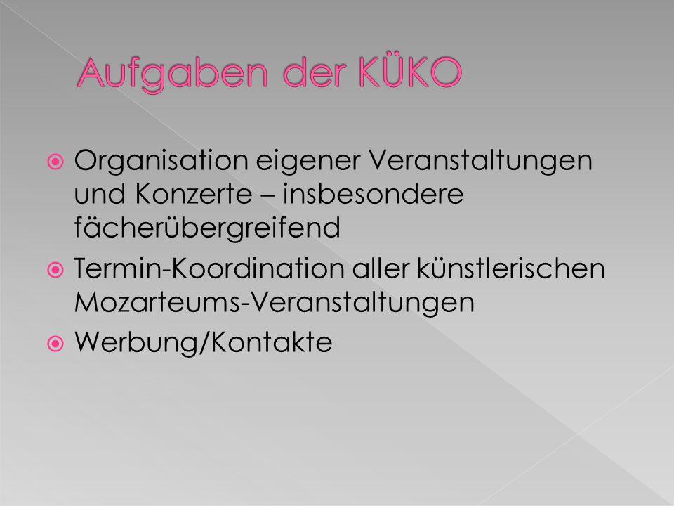 Organisation eigener Veranstaltungen und Konzerte – insbesondere fächerübergreifend Termin-Koordination aller künstlerischen Mozarteums-Veranstaltungen Werbung/Kontakte