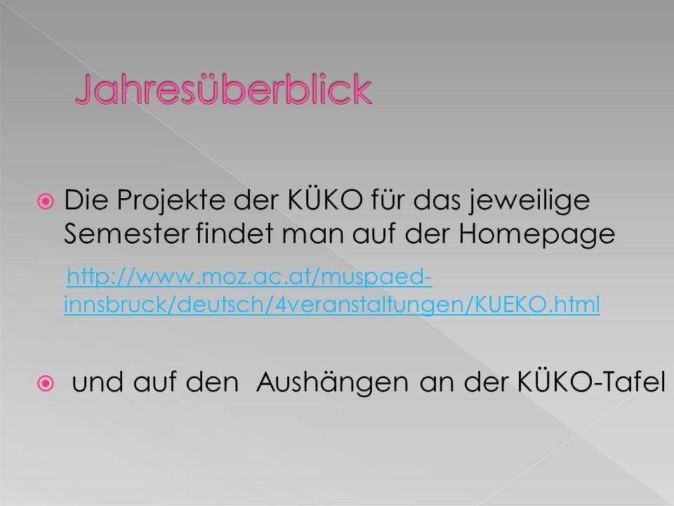 Die Projekte der KÜKO für das jeweilige Semester findet man auf der Homepage http://www.moz.ac.at/muspaed- innsbruck/deutsch/4veranstaltungen/KUEKO.ht