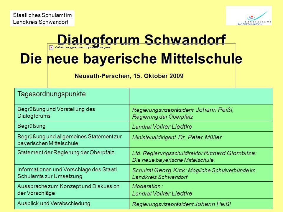 Dialogforum Schwandorf Die neue bayerische Mittelschule Neusath-Perschen, 15. Oktober 2009 Staatliches Schulamt im Landkreis Schwandorf Tagesordnungsp