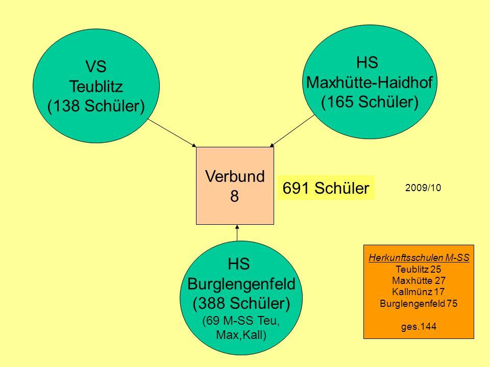 VS Teublitz (138 Schüler) HS Maxhütte-Haidhof (165 Schüler) HS Burglengenfeld (388 Schüler) (69 M-SS Teu, Max,Kall) 691 Schüler 2009/10 Herkunftsschul