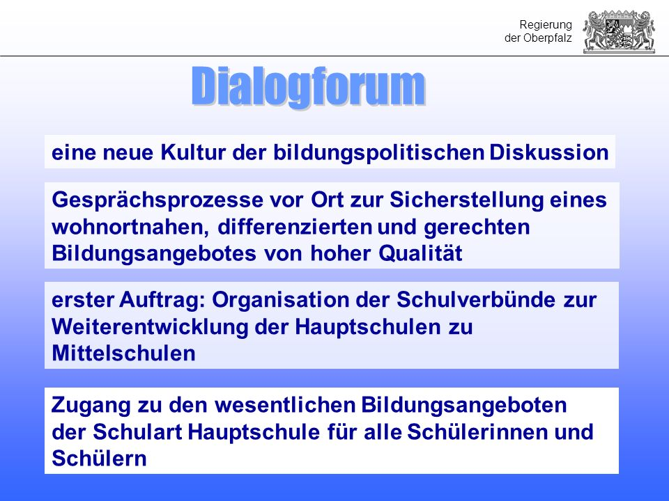 Regierung der Oberpfalz Lösungsmöglichkeiten auf der Basis des bestehenden Schulsystems kein Ort für Grundsatzdiskussion über das bayerische Bildungs- und Schulsystem früheste Umsetzung zum Schuljahr 2010/2011