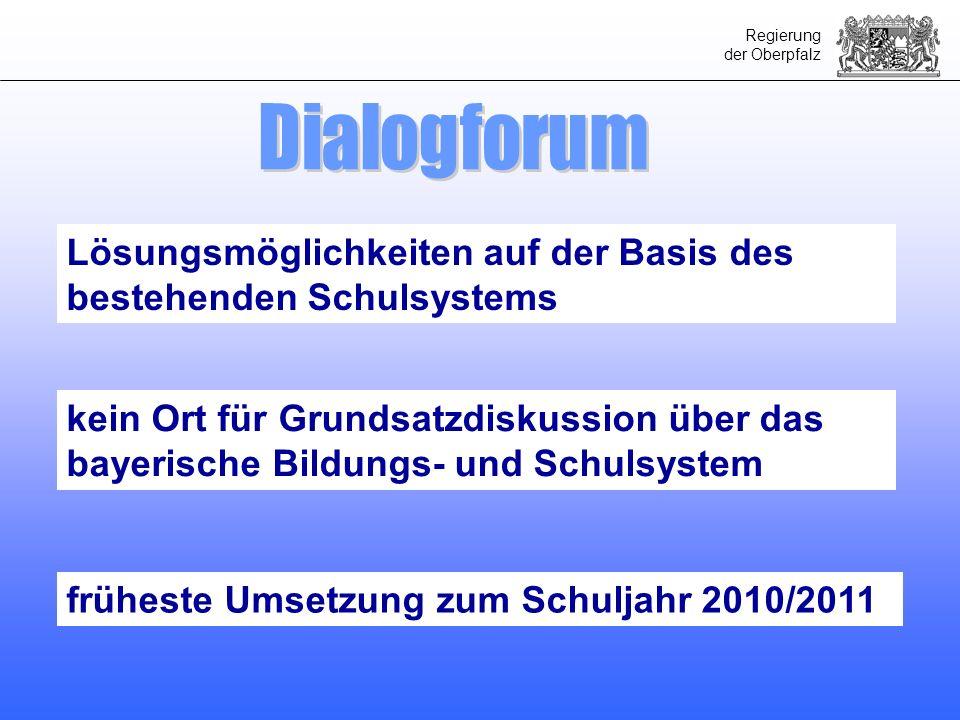 Regierung der Oberpfalz Lösungsmöglichkeiten auf der Basis des bestehenden Schulsystems kein Ort für Grundsatzdiskussion über das bayerische Bildungs-