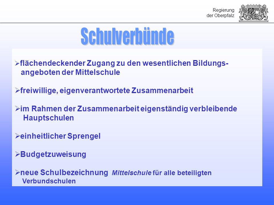 Regierung der Oberpfalz flächendeckender Zugang zu den wesentlichen Bildungs- angeboten der Mittelschule freiwillige, eigenverantwortete Zusammenarbei