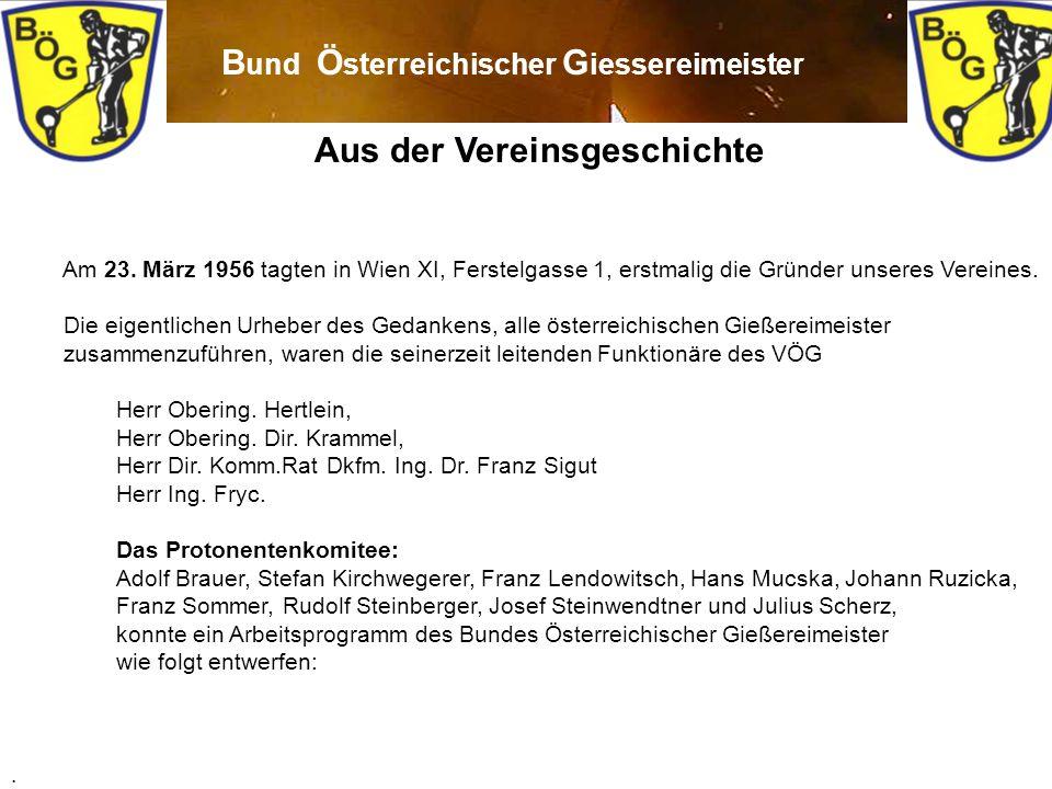 2 Aus der Vereinsgeschichte Am 23. März 1956 tagten in Wien XI, Ferstelgasse 1, erstmalig die Gründer unseres Vereines. Die eigentlichen Urheber des G